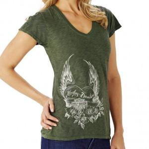 Camiseta Harley-Davidsson Corner Mark (RK000914) Camiseta de algodón.Verde oliva.Detalle corazón alado.(S-M-L--XL) 49.50