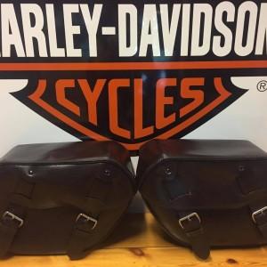 Alforjas Harley-Davidson de cuero envejecido con tono marrón café