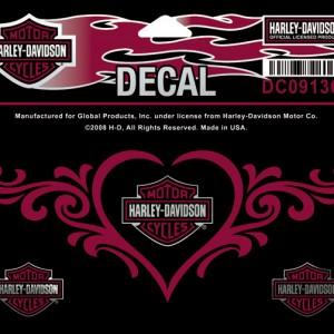 Pegatina Harley-Davidson Love heart(GPDC091363) lamina con 4 pegatinas. Dimension de la lámina 5 1#Uf0222#Uf020 W x 2 5#Uf0228#Uf020 H- 9
