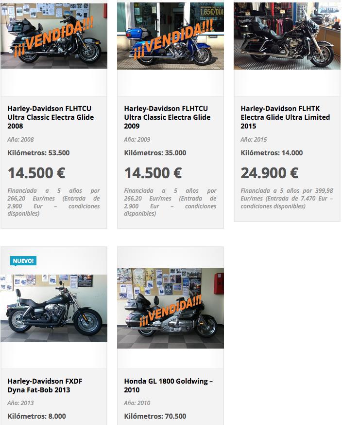 Motos de segunda mano Harley Davidson Madrid - Cantabria Harley Davidson