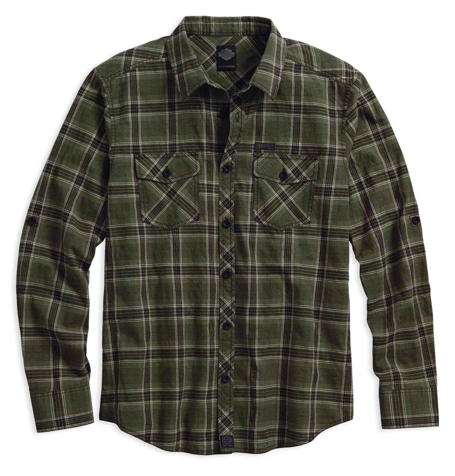 49fa7dd84d893 Camisa Harley-Davidson Men s Plaid L S Roll Up Western Shirt