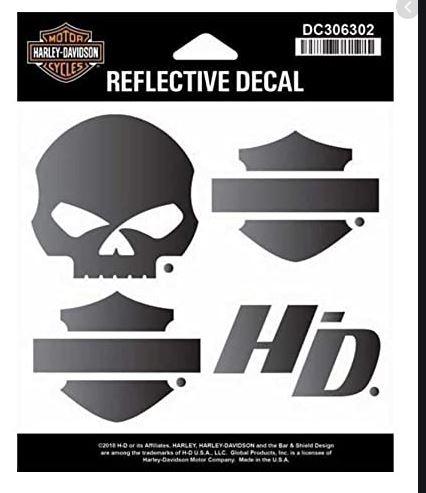 Harley-Davidson pegatinas reflectiv Skull plata//negro//naranja